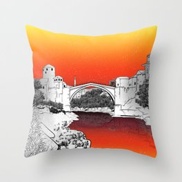 Stari Most Moster Bridge Throw Pillow