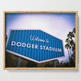 Welcome to Dodger Stadium   Los Angeles California Nostalgic Iconic Sign Sunset Art Print Tapestry Serving Tray