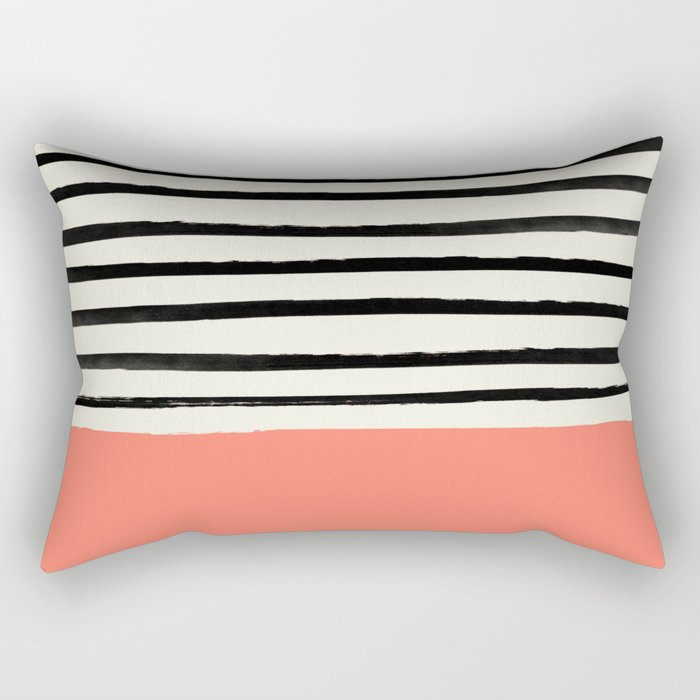Coral x Stripes Rectangular Pillow