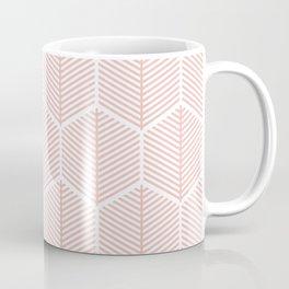 Pink Hexagonal Leaf Pattern Coffee Mug