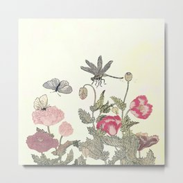 Butterfly and flowers -The Still Point Metal Print