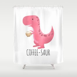 Coffee-saur | Pink Shower Curtain