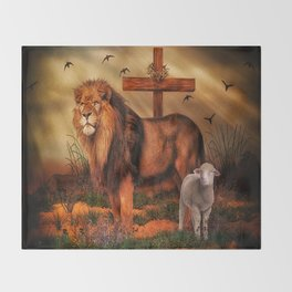 The Lion And The Lamb Throw Blanket