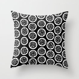 High Contrast Black and White Geode Pattern Throw Pillow