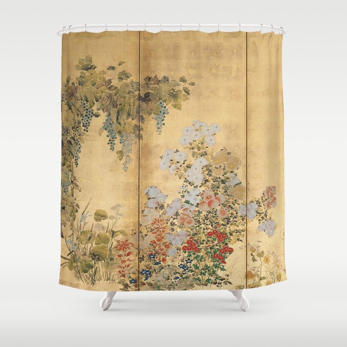Japanese Edo Period Six-Panel Gold Leaf Screen - Spring and Autumn Flowers Shower Curtain