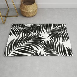 Palm Tree Fronds Black on White Maui Hawaii Tropical Graphic Design Rug