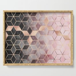 Pink And Grey Gradient Cubes Serving Tray