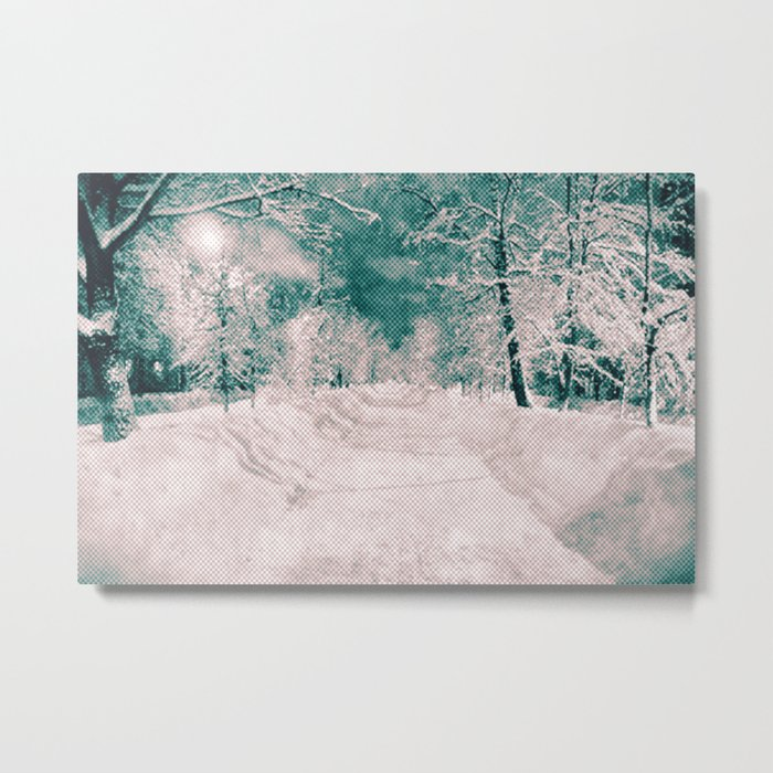 Winter wonderland. Halftone effect Metal Print
