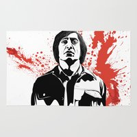 sin city Area & Throw Rugs featuring Sin City Style Anton Chigurh (Javier Bardem) illustration by Creative Spectator