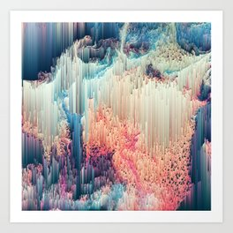 Fairyland - Abstract Glitchy Pixel Art Art Print