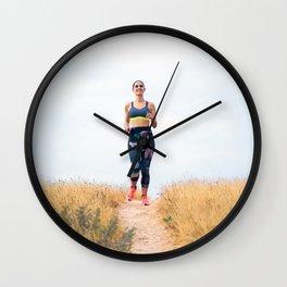 Young sport woman running Wall Clock