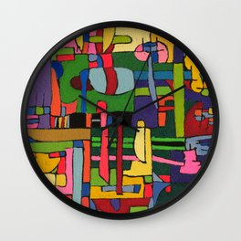 Colors in Collision 3 - Geometric Abstract of Colors that Clash Wall Clock