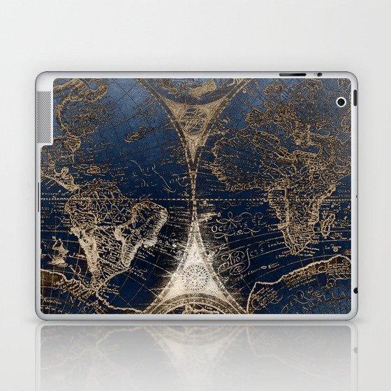 World Map Deep Blue and Gold Laptop & iPad Skin
