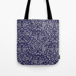 Chalkboard Floral Doodle Pattern in Navy & Cream Tote Bag