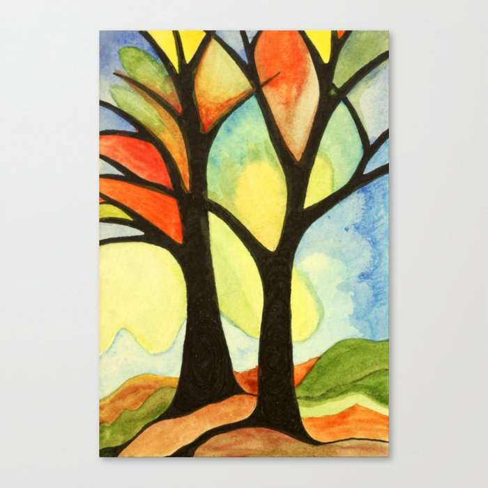 Stained Glass Trees Canvas Print By, Stained Glass Trees Images