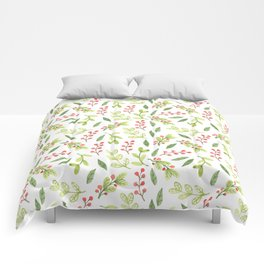 Bright Watercolor Christmas Mistletoe Pattern Comforters