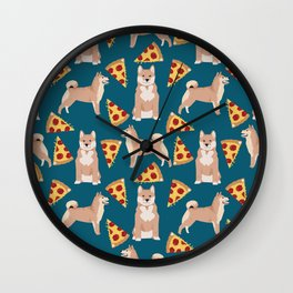 shiba inu pizza dog breed pet pattern dog mom Wall Clock