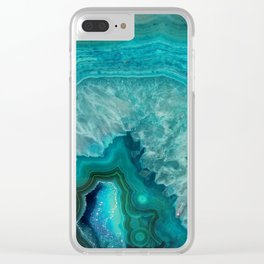 Teal Agate Clear iPhone Case