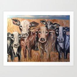 Cow Family of Love Art Print