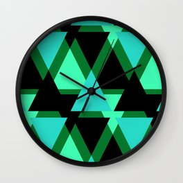 Abstract pattern . The green triangles . Wall Clock