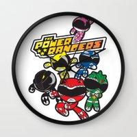power rangers Wall Clocks featuring Power Rangers  by Dik Low
