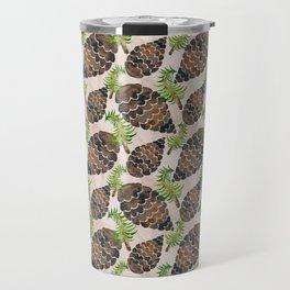 Watercolor Pine Cone Pattern Travel Mug