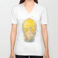 c3po V-neck T-shirts featuring C3PO Splash by Sitchko Igor