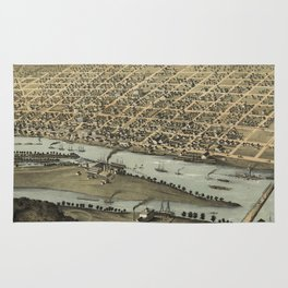 Vintage Pictorial Map of Saginaw Michigan (1867) Rug