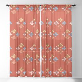 Las Flores - Red 02 (Patterns Please) Sheer Curtain