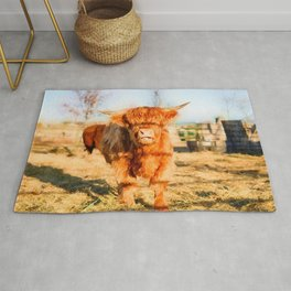 Baby Highland cow watercolor painting  Rug