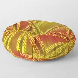 Red Yellow Abstract Leaf Floor Pillow