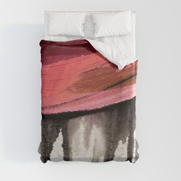 Entangled [4]: a vibrant, colorful abstract mixed-media piece in reds, pinks, black and white Duvet Cover