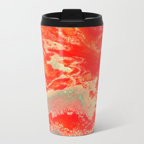 Sea Green + Coral #society6 #decor #buyart Metal Travel Mug