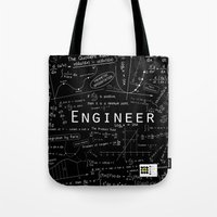 engineer Tote Bags featuring BLACK - ENGINEER by Be Raza