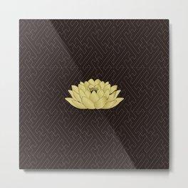 Yoga Lotus Art Black Metal Print