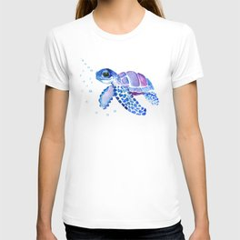 Blue Purple Sea Turtle, Children artwork T-shirt
