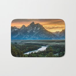Sunset On Grand Teton And Snake River Bath Mat