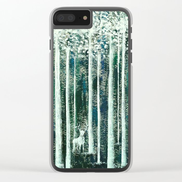 Christmas Stag in the jungle handpainted Clear iPhone Case