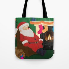 Sleeping Santa Tote Bag