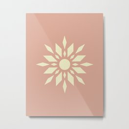 Sunburst Retro - Blush Pink Metal Print