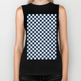 Small Checkered - White and Oxford Blue Biker Tank
