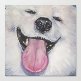 SAMOYED dog art portrait from an original painting by L.A.Shepard Canvas Print