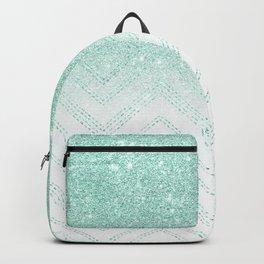 Faux teal glitter ombre modern chevron pattern Backpack