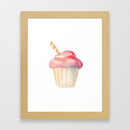 Watercolor Ice Cream Pink Framed Art Print