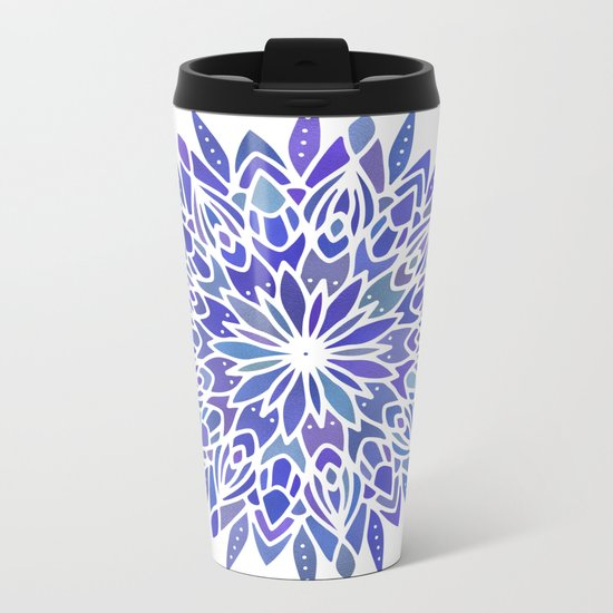 Mandala Vivid Blue Metal Travel Mug