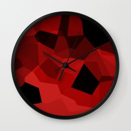 Red Polygon Pattern Wall Clock