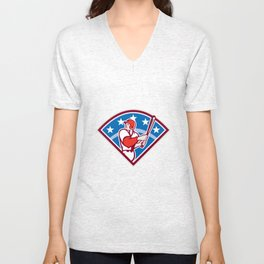 American Baseball Batter Hitter Bat Diamond Retro Unisex V-Neck