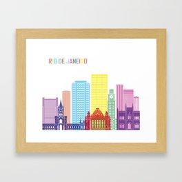 Rio de Janeiro V2 skyline pop Framed Art Print