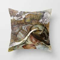 shopping Throw Pillows featuring Ants/Shopping  by Andreas Derebucha