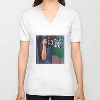 les mis V-neck T-shirts featuring Les Yeux  by Bruce Stanfield